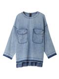 メープル(R)デニムビックポケットノーカラーシャツ