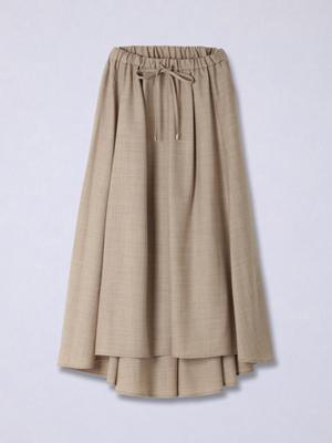 バックロングコットン混スカート