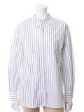 ストライプ柄ノーカラーオーバーサイズシャツ