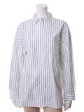 【13・15号】ストライプ柄ワイドロングバックボタンシャツ