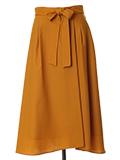 【WEB限定】リボンベルト付きタックフレアスカート