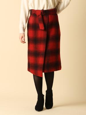 ベルト付き起毛チェック柄ラップ風スカート