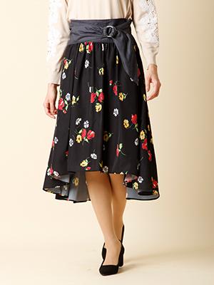 【秋の新作】《ef-de》フロントリボンフラワーフレアスカート
