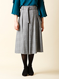 【WEB限定大きいサイズ】リボンベルト付チェックフレアスカート