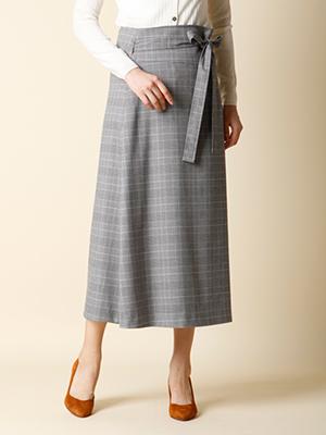 【秋の新作】グレンチェックラップスカート