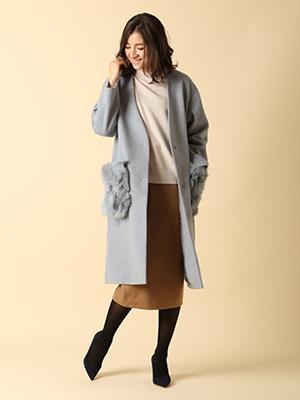 【秋の新作】【INED25周年記念】ファーポケットカラーレスコート《PONTETORTO》