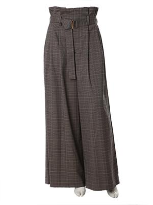 【秋の新作】《INED》ベルト付きハイウエストストレッチチェック柄パンツ