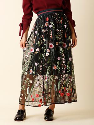 【秋の新作】刺繍シースルースカート