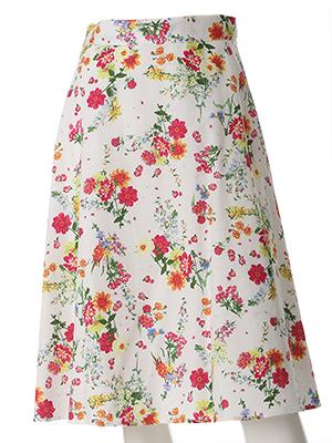 【WEB限定】フラワープリントAラインスカート