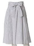 【WEB限定】リボンベルト付きコットンフレアスカート