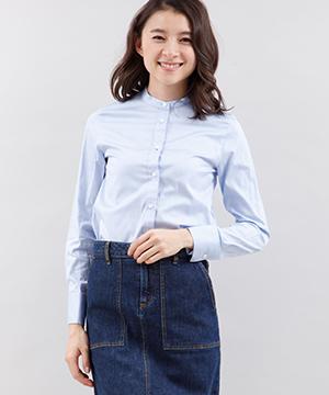【春の新作】スタンドカーコットンシャツ
