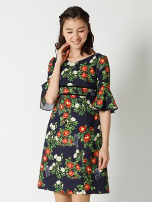 【春の新作】キャット&ローズプリントワンピース
