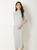 【WEB限定大きいサイズ】ボトルネックニット×ニットタイトスカート《2点セット》