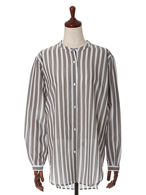 バンドカラー太ストライプシャツ《Reana-β》