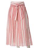 《INED》ストライプフロントリボンリネンスカート