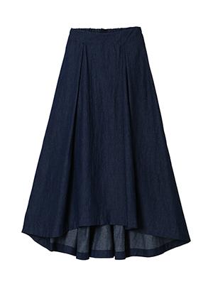 【予約販売】シャイニーデニムバックロングスカート