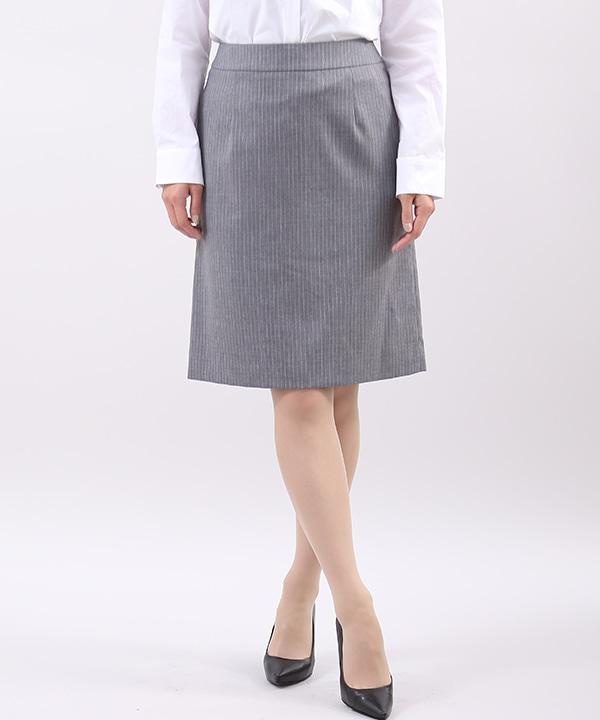 【クリアインプレッション/フランドル】《Brilliantstage》ピンストライプタイトスカート《洗えるスーツ》